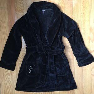 Victoria's Secret Black plush soft Fuzzy M/L robe